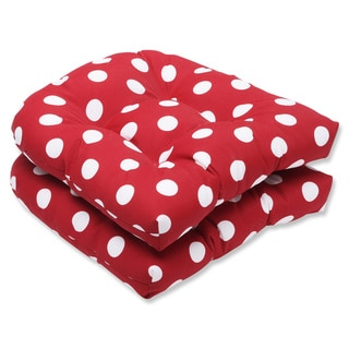 Pillow Perfect Outdoor Red/ White Polka Dot Seat Cushions (Set of 2)