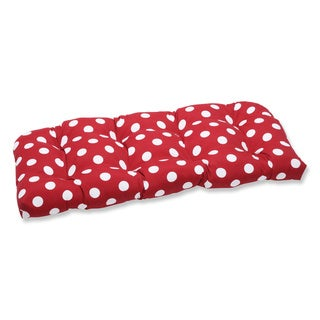 Pillow Perfect Outdoor Red/ White Polka Dot Wicker Loveseat Cushion