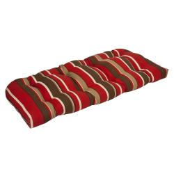 Pillow Perfect Outdoor Red/ Brown Stripe Wicker Loveseat Cushion