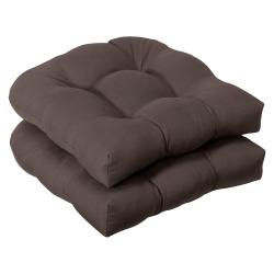 Pillow Perfect Outdoor Brown Seat Cushions (Set of 2)