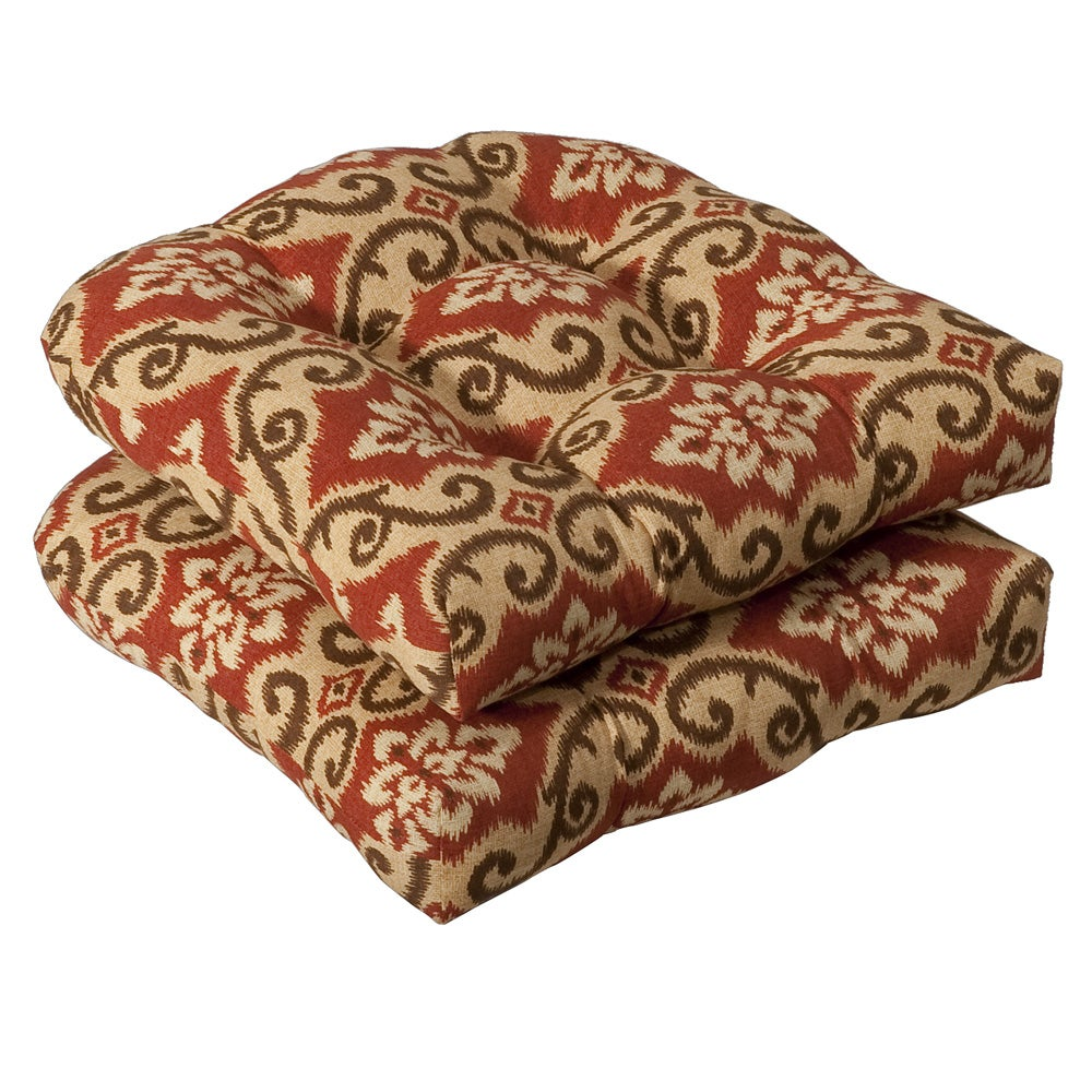 Pillow Perfect Outdoor Red Tan Damask Seat Cushions Set
