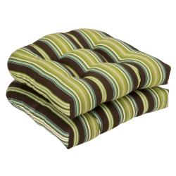 Pillow Perfect Outdoor Brown/ Green Striped Wicker Seat Cushions (Set of 2)