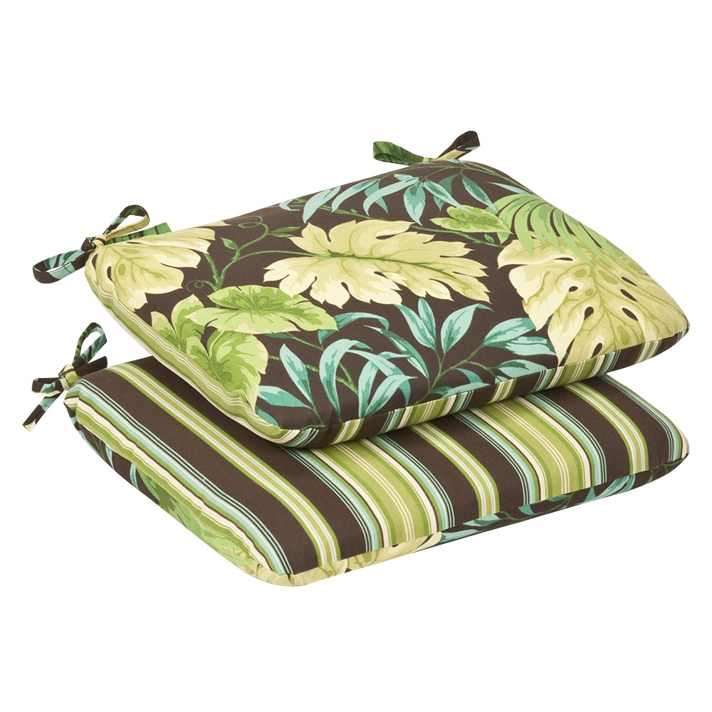 Pillow Perfect Outdoor Green/Brown Tropical/ Striped Rounded Reversible Seat Cushions (Set of 2)