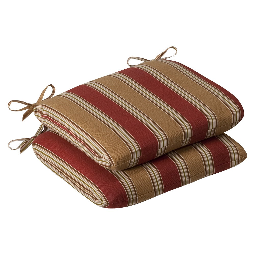Pillow Perfect Outdoor Red Gold Striped Round Seat