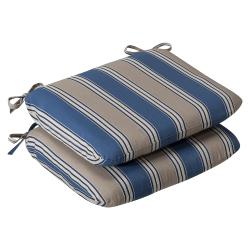 Pillow Perfect Outdoor Blue/ Tan Striped Round Seat Cushions (Set of 2)