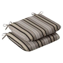 Pillow Perfect Outdoor Black/ Beige Striped Round Seat Cushions (Set of 2)