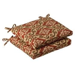 Pillow Perfect Outdoor Red/ Tan Damask Squared Seat Cushions (Set of 2)