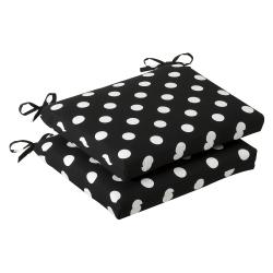 Pillow Perfect Outdoor Black/ White Polka Dot Squared Seat Cushions (Set of 2)
