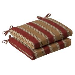 Pillow Perfect Outdoor Red/ Gold Striped Squared Seat Cushions (Set of 2)