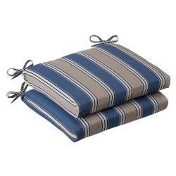 Pillow Perfect Outdoor Blue/ Tan Striped Squared Seat Cushions (Set of 2)