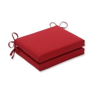 Pillow Perfect Outdoor Red Squared Seat Cushions (Set of 2)