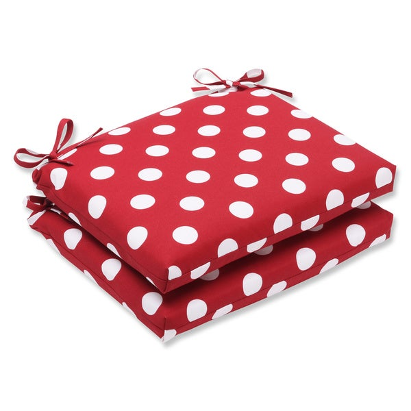 Pillow Perfect Outdoor Red/ White Polka Dot Squared Seat Cushions (Set of 2)
