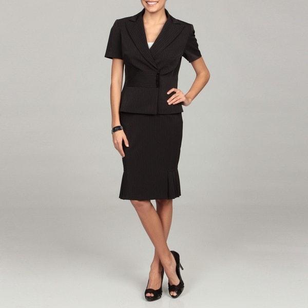 Tahari Women's Pinstripe Short-sleeve Jacket Skirt Suit