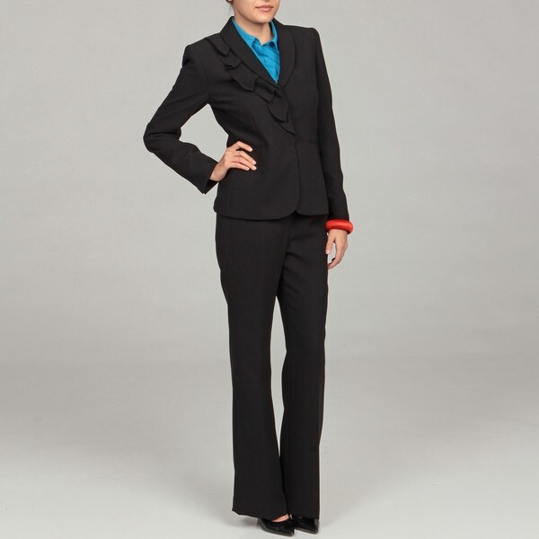 Tahari Women's Black Ruffled Three-button Suit