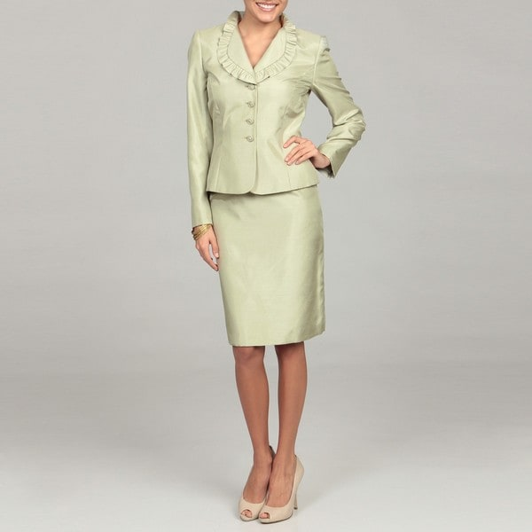 Tahari Women's Pistachio Green Ruffle Skirt Suit