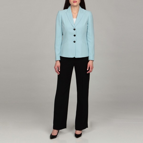 Tahari Women's Ocean Blue Three-button Pant Suit