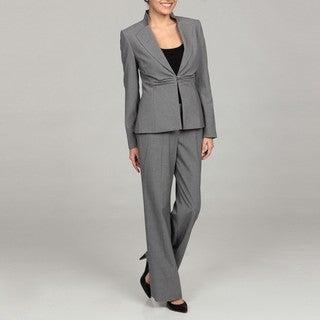 Tahari Women's Grey One-button Ruched Pant Suit