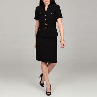 Tahari Women's Black Mandarin Collar Skirt Suit