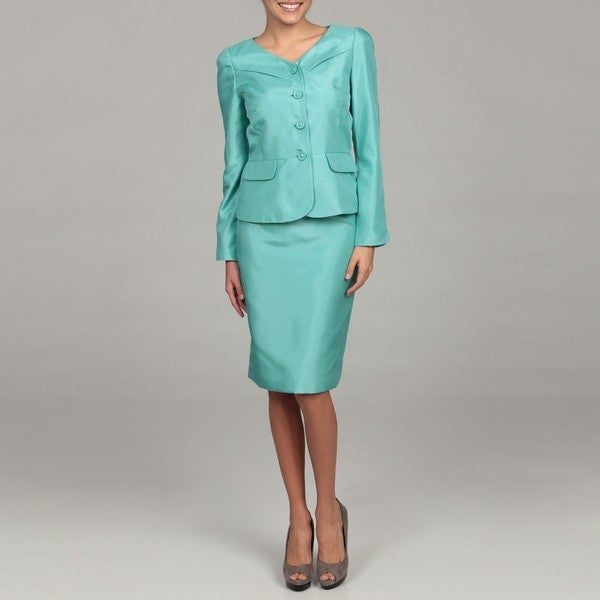 Tahari Women's Shantung Aqua Four-button Skirt Suit