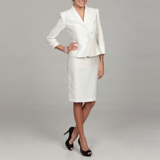 Tahari Women's White Ruffle Collar Skirt Suit