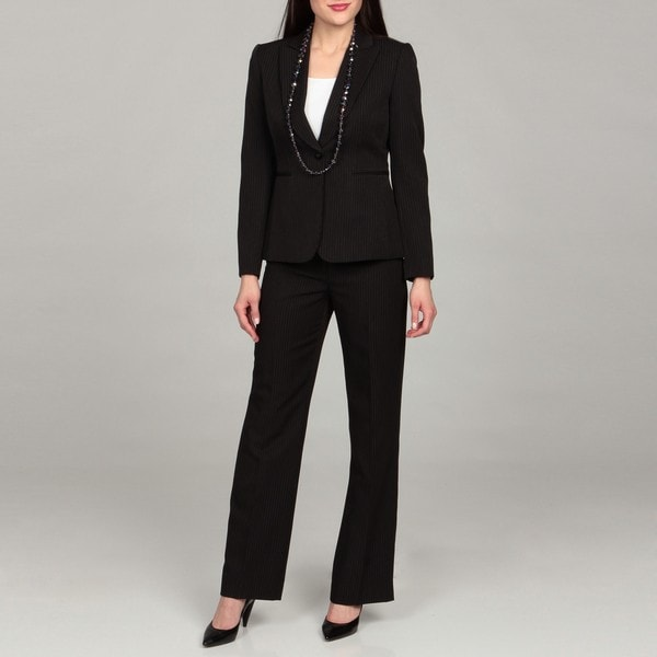 Tahari Women's Black/ Beige/ Brown Pinstripe Pant Suit