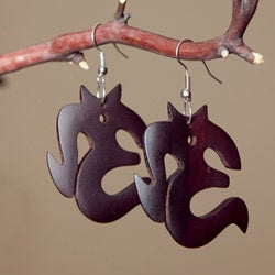 Mango Wood Om-Shaped Earrings (Indonesia)