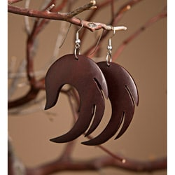 Mango Wood Wing-Shaped Earrings (Indonesia)
