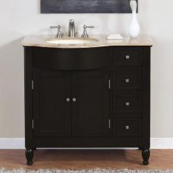 Silkroad Exclusive Travertine Stone Top Bathroom Single Vanity Lavatory Sink Cabinet (38-inch)