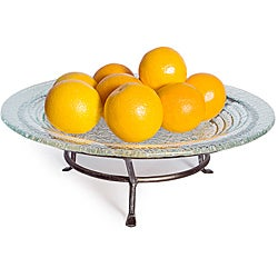 Round Textured Glass Plate on Iron Raised Stand