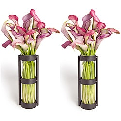 Metal Stand Glass Cylinder Vases (Set of 2)