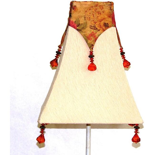 Beige Silk Shade with Beaded Floral Chiffon Drape