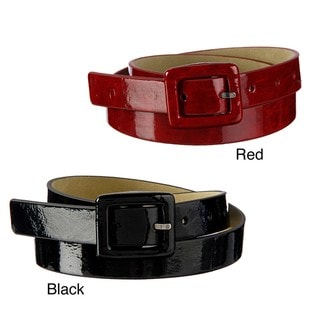 Steve Madden Women's Patent Leather Buckle Belt