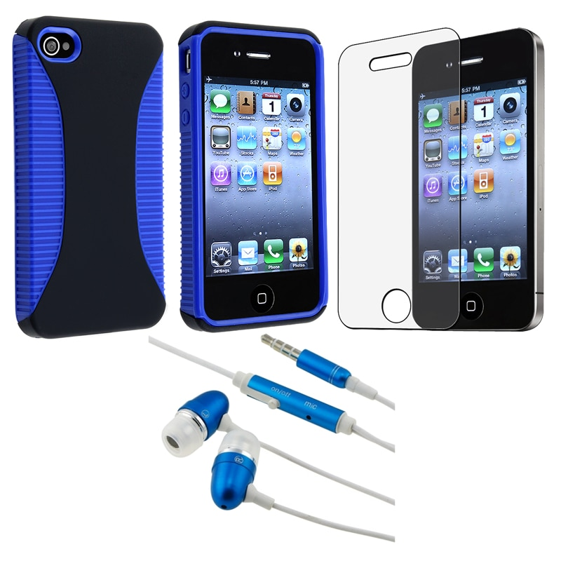 BasAcc Blue Hybrid Case/ Protector/ Headset for Apple iPhone 4 AT&T