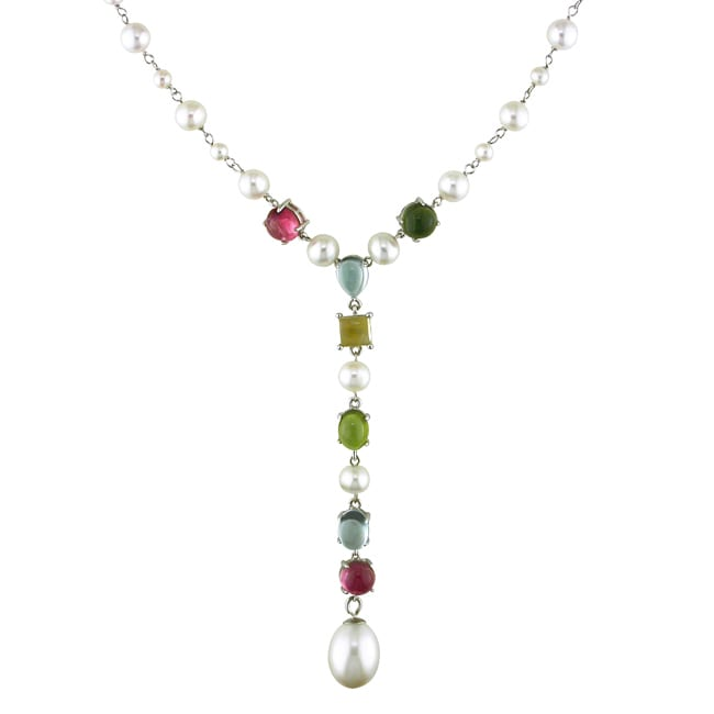 Miadora 14k White Gold Multi-gemstone and Freshwater Pearl Necklace (9-10 mm)