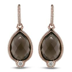 Miadora 14k Pink Gold Smokey Quartz and 1 1/10ct TDW Earrings (G-H,SI2)