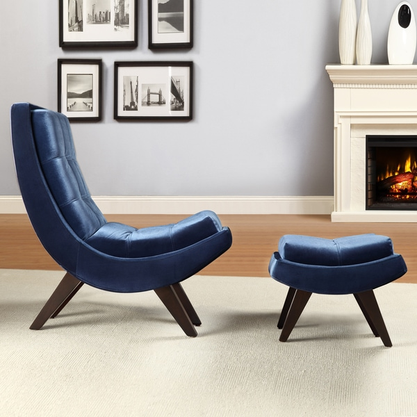 INSPIRE Q Albury Blue Velvet Curved Chair and Ottoman Set