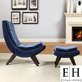 ETHAN HOME Albury Blue Velvet Curved Chair and Ottoman Set