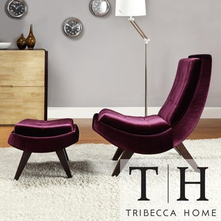 TRIBECCA HOME Albury Purple Velvet Lounging Chair with Ottoman