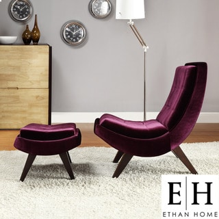 ETHAN HOME Albury Plum Velvet Lounging Chair with Ottoman