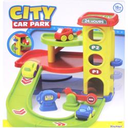 Plastic Multi-story Keenway City Car Park with Two Cars and Gas Pump