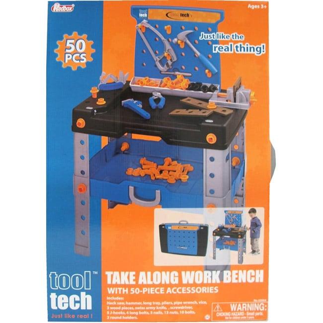 Boy's Plastic Tool Tech Take-along Casual Work Bench Set (50 Piece)
