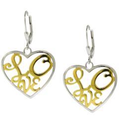 Moise Silver Two-tone Love Earrings