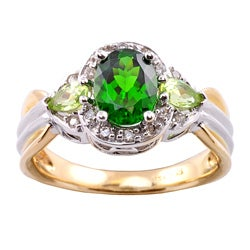 Michael Valitutti 14k Gold Imperial Diopside, Peridot and 1/6ct TDW Diamond Ring (I-J, I1-I2)