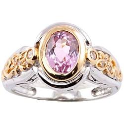 Michael Valitutti 14k Gold Kunzite and 1/8ct TDW Diamond Ring (I-J, I1-I2)