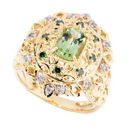Michael Valitutti 14k Gold Tashmarine Diopside and 1/5ct TDW Diamond Ring (I-J, I1-I2)