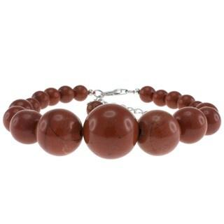 Pearlz Ocean Sterling Silver Red Jasper Bead Journey Bracelet