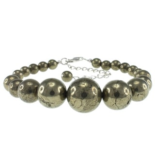 Pearlz Ocean Sterling Silver Pyrite 6-14 mm Bead Journey Bracelet