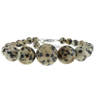 Pearlz Ocean Sterling Silver Dalmatian Jasper Journey Bracelet