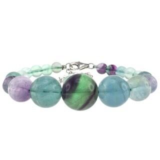 Pearlz Ocean Sterling Silver Fluorite Bead Journey Bracelet