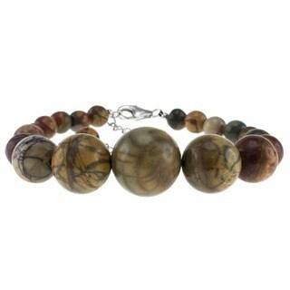 Pearlz Ocean Sterling Silver Picasso Jasper Bead Journey Bracelet